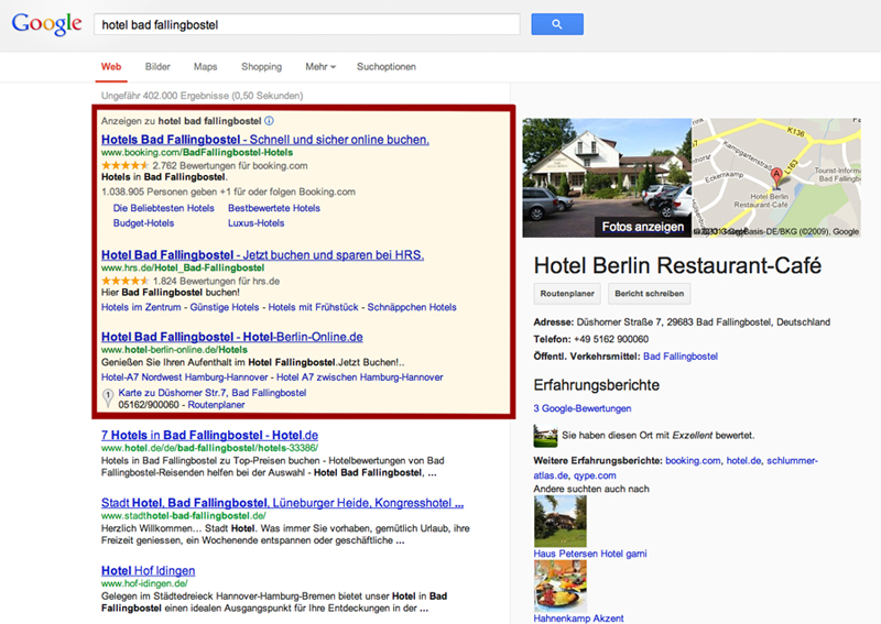 Adwords Anzeige - Google Adwords Kampagne